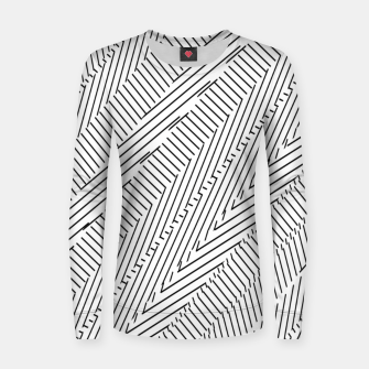 Thumbnail image of geometric line pattern abstract background in black and white Women sweater, Live Heroes