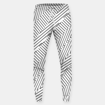 Thumbnail image of geometric line pattern abstract background in black and white Sweatpants, Live Heroes