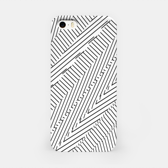 Thumbnail image of geometric line pattern abstract background in black and white iPhone Case, Live Heroes