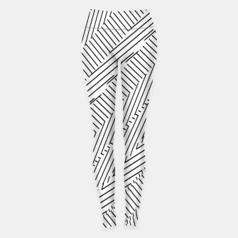 Thumbnail image of geometric line pattern abstract background in black and white Leggings, Live Heroes
