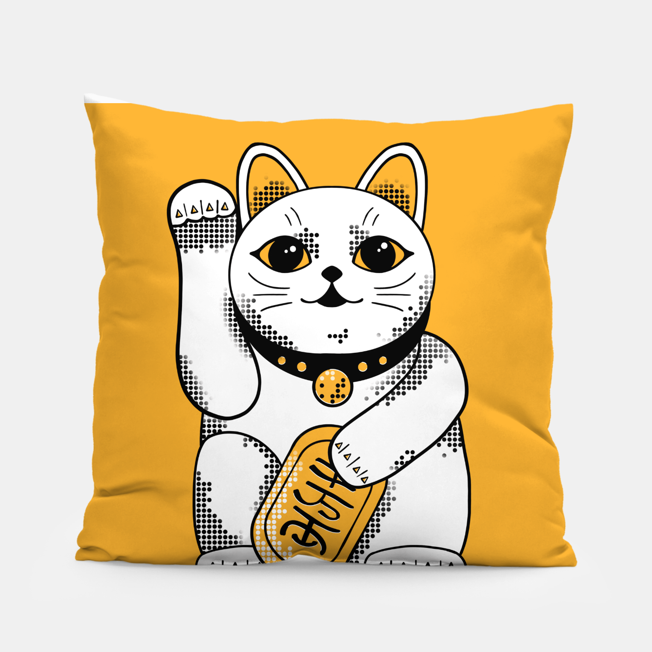 Image of Maneki Neko - Orange Pillow - Live Heroes