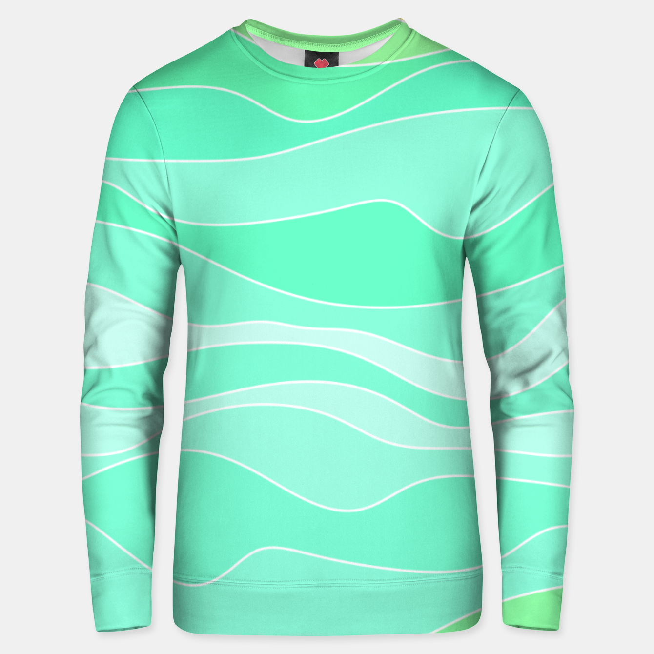 Image of Ocean sunrise, waves in blue and green print Unisex sweater - Live Heroes