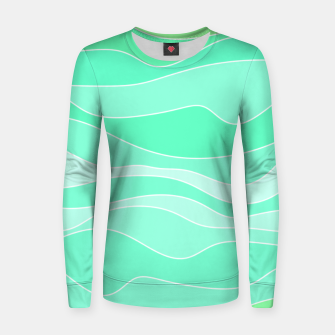 Ocean sunrise, waves in blue and green print Women sweater thumbnail image
