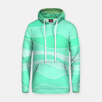 Thumbnail image of Ocean sunrise, waves in blue and green print Hoodie, Live Heroes