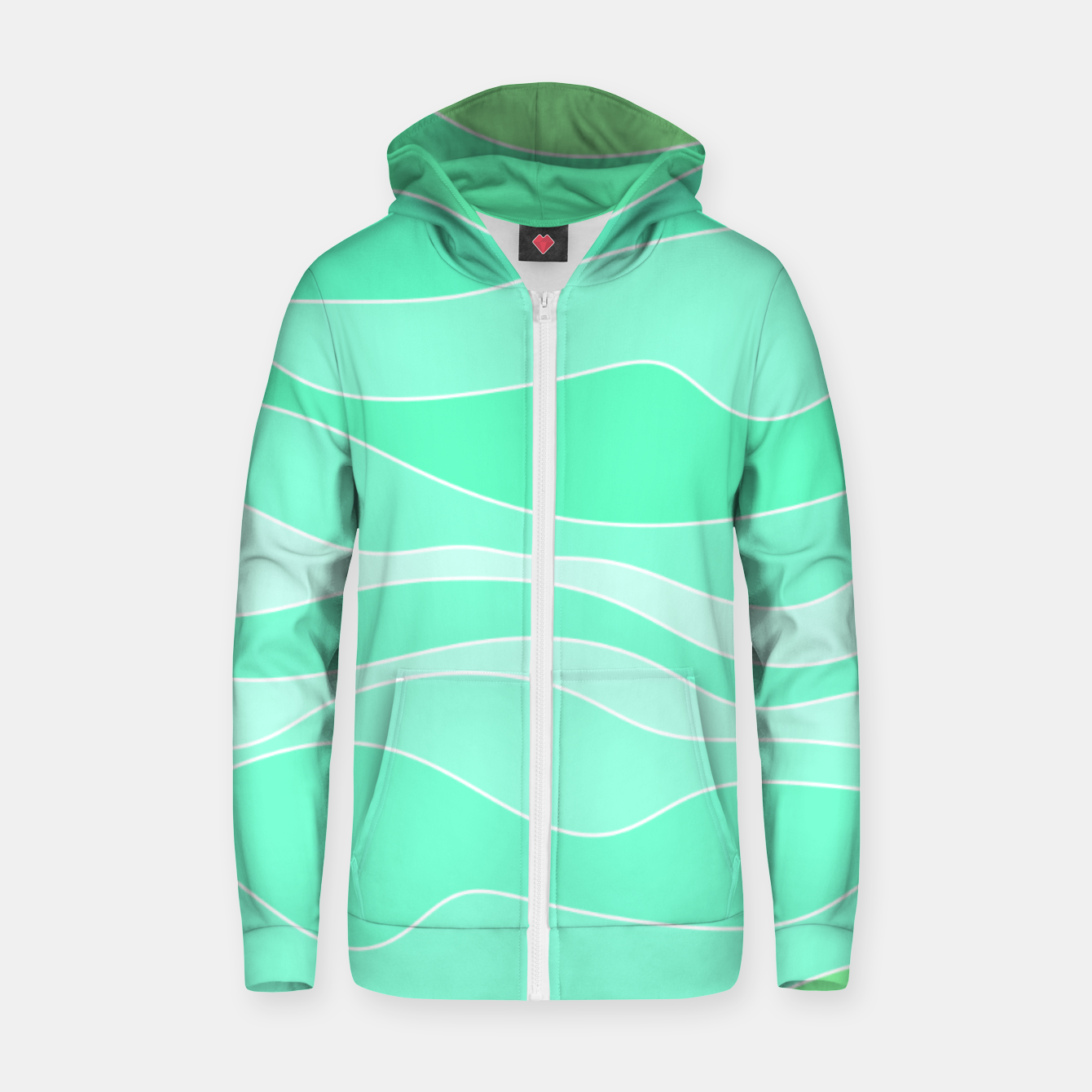 Image of Ocean sunrise, waves in blue and green print Zip up hoodie - Live Heroes