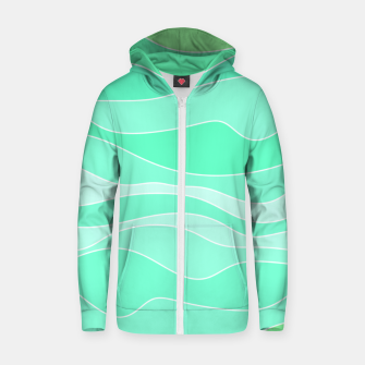 Thumbnail image of Ocean sunrise, waves in blue and green print Zip up hoodie, Live Heroes