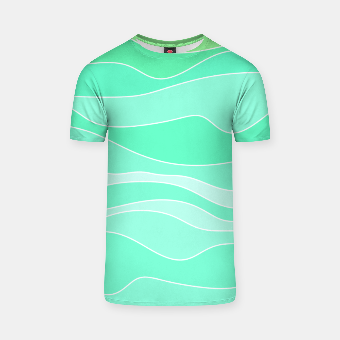 Image of Ocean sunrise, waves in blue and green print T-shirt - Live Heroes