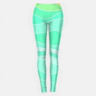 Thumbnail image of Ocean sunrise, waves in blue and green print Leggings, Live Heroes