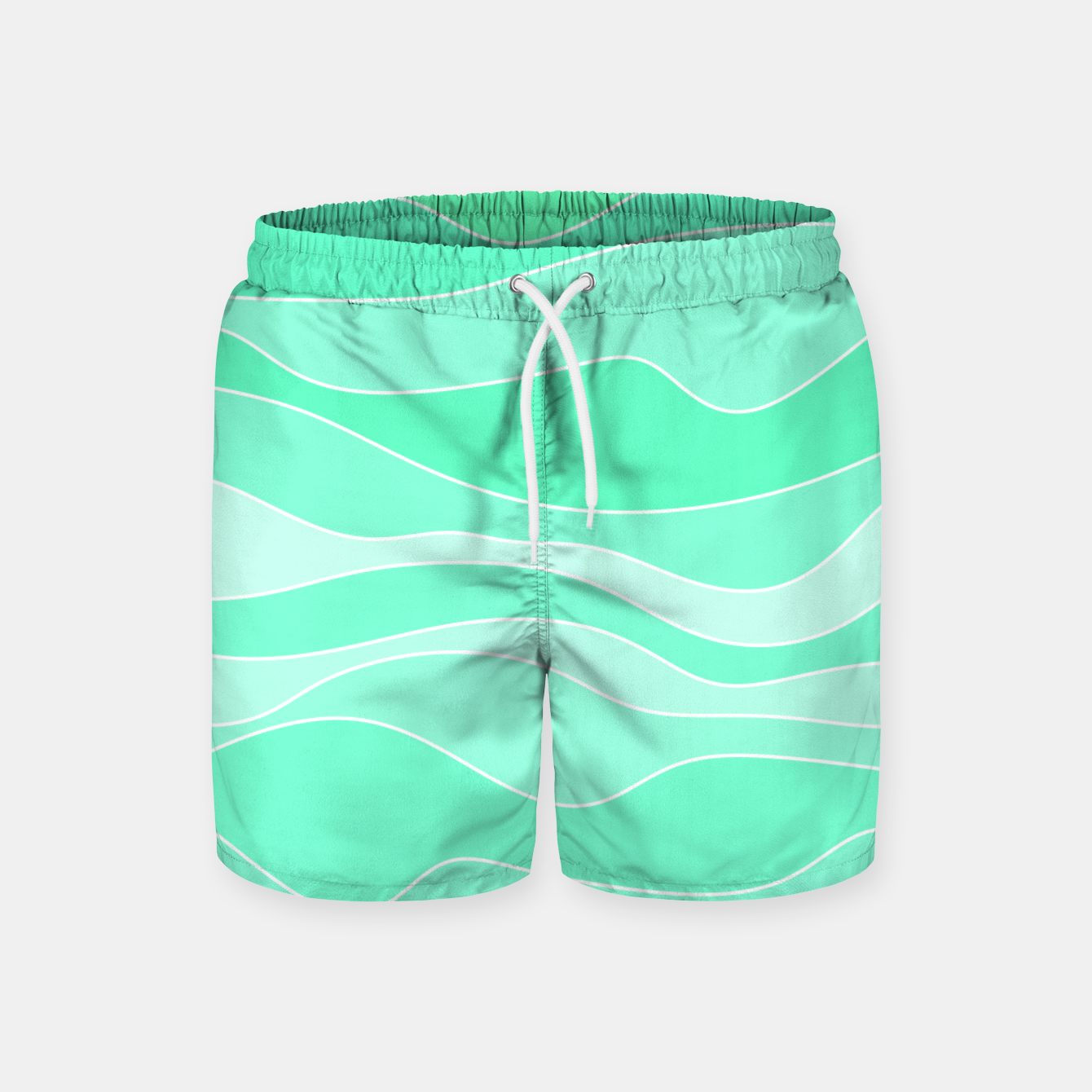 Image of Ocean sunrise, waves in blue and green print Swim Shorts - Live Heroes