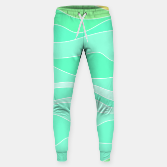 Thumbnail image of Ocean sunrise, waves in blue and green print Sweatpants, Live Heroes