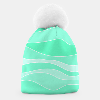Ocean sunrise, waves in blue and green print Beanie thumbnail image