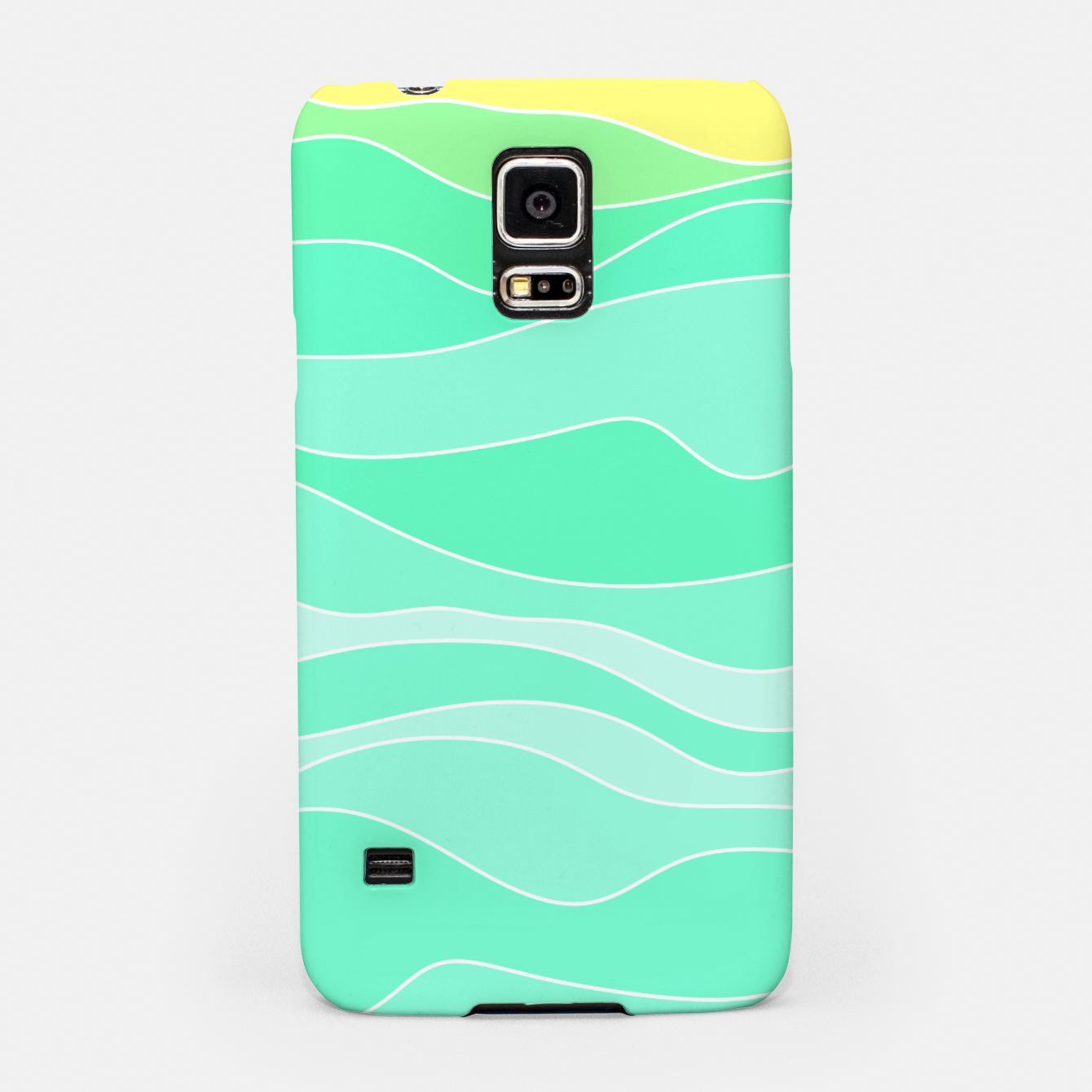Image of Ocean sunrise, waves in blue and green print Samsung Case - Live Heroes