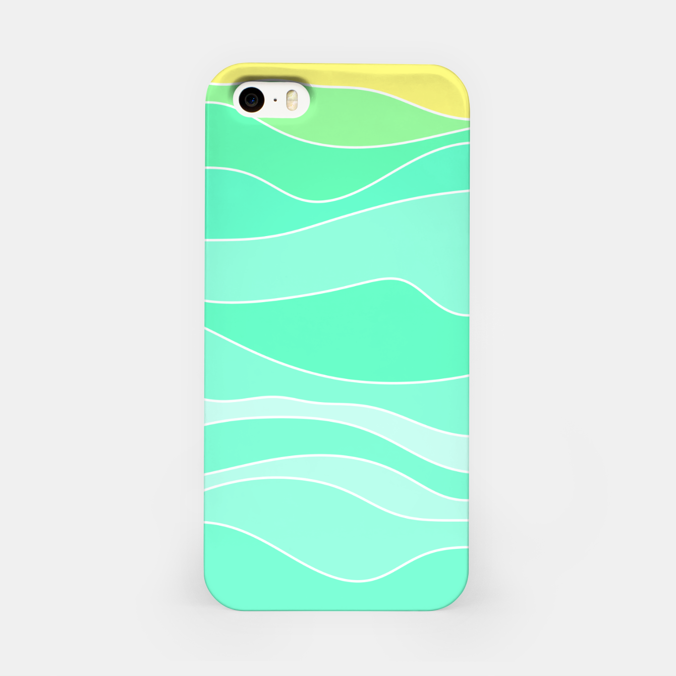 Image of Ocean sunrise, waves in blue and green print iPhone Case - Live Heroes