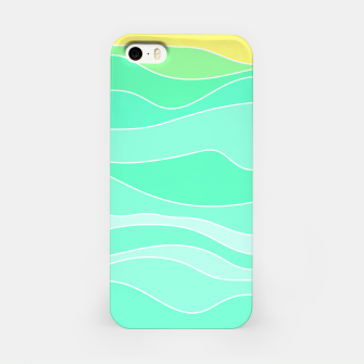 Ocean sunrise, waves in blue and green print iPhone Case thumbnail image