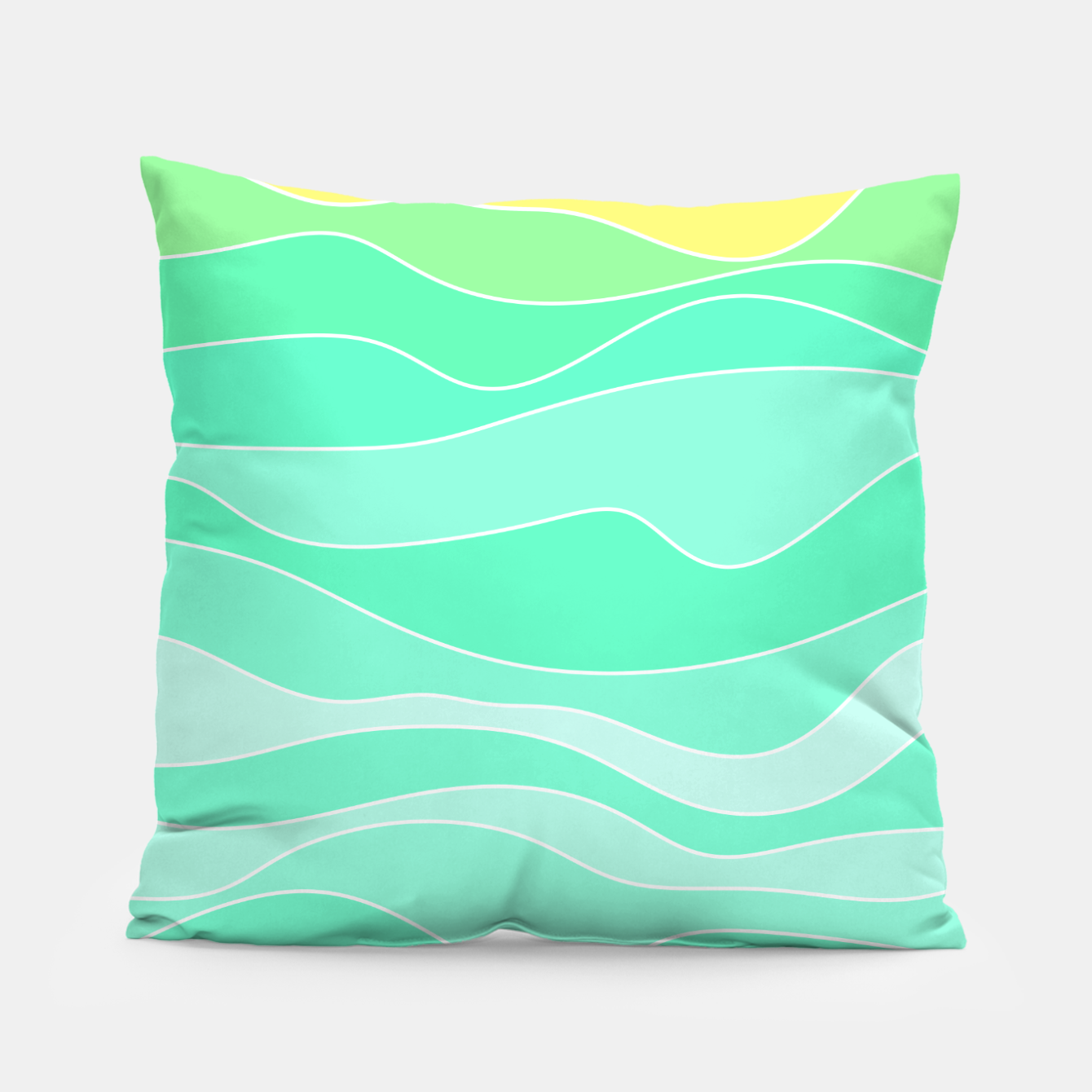 Image of Ocean sunrise, waves in blue and green print Pillow - Live Heroes
