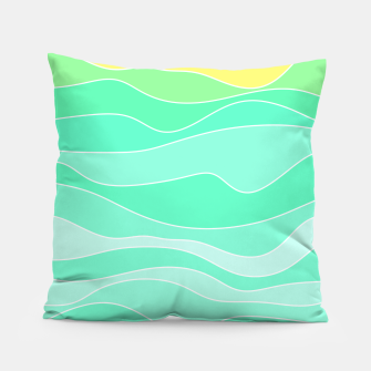 Ocean sunrise, waves in blue and green print Pillow thumbnail image
