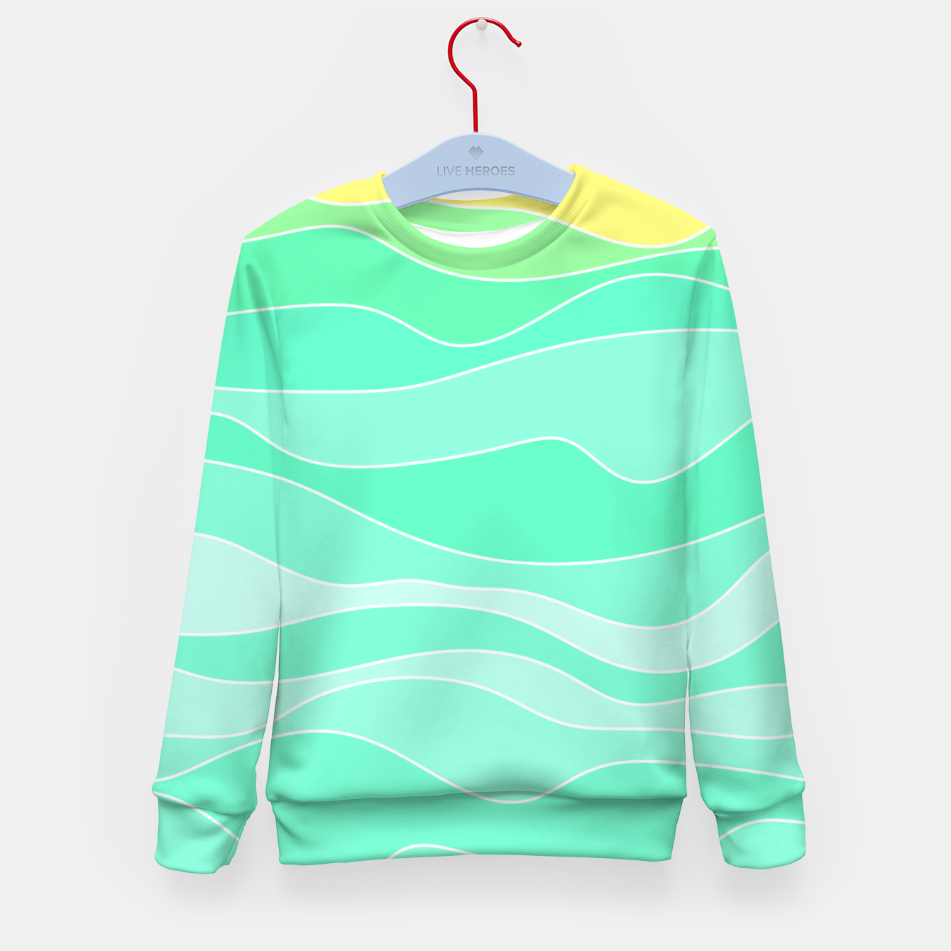 Image of Ocean sunrise, waves in blue and green print Kid's sweater - Live Heroes