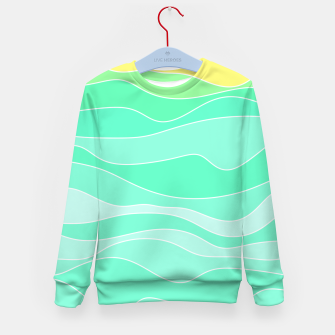 Thumbnail image of Ocean sunrise, waves in blue and green print Kid's sweater, Live Heroes