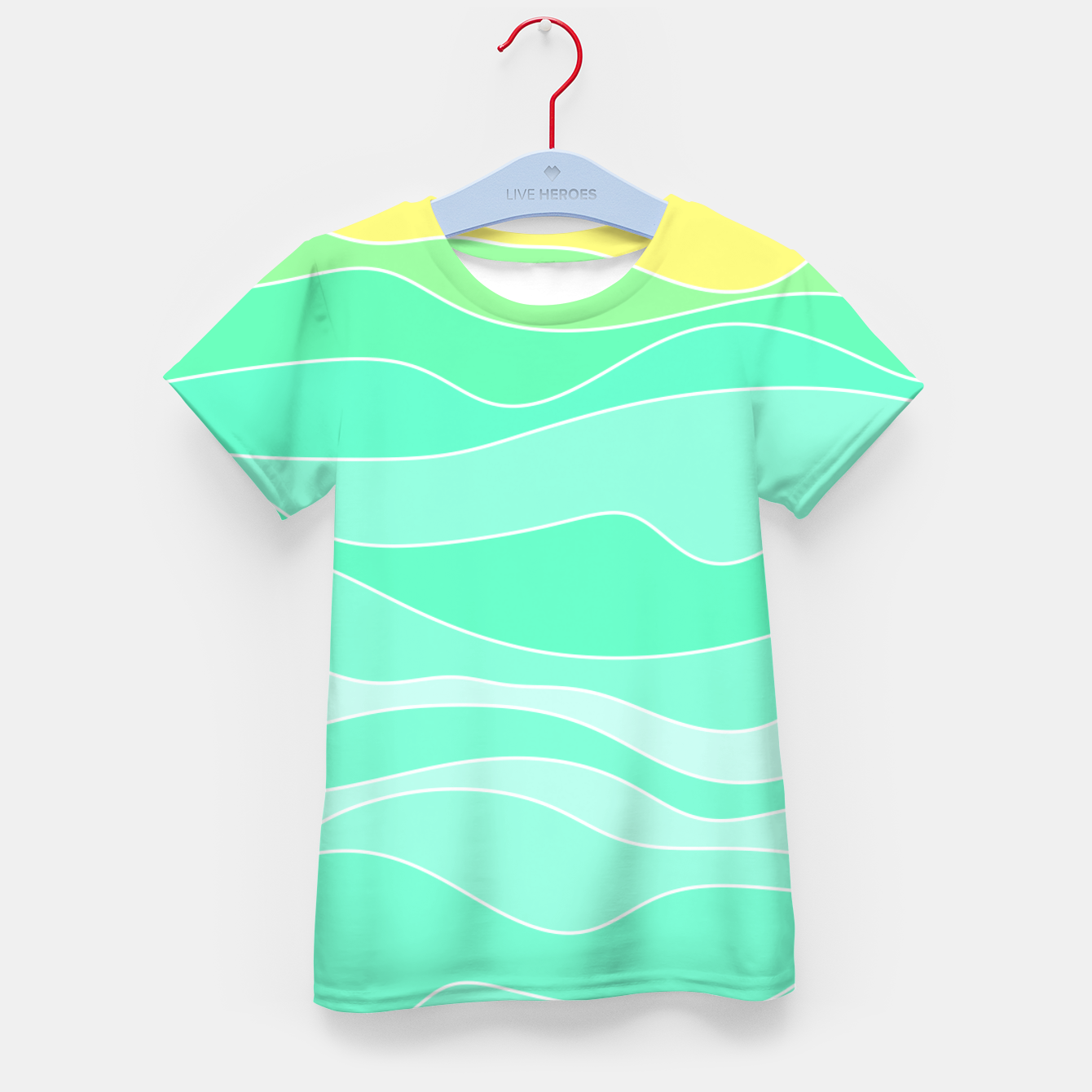 Image of Ocean sunrise, waves in blue and green print Kid's t-shirt - Live Heroes