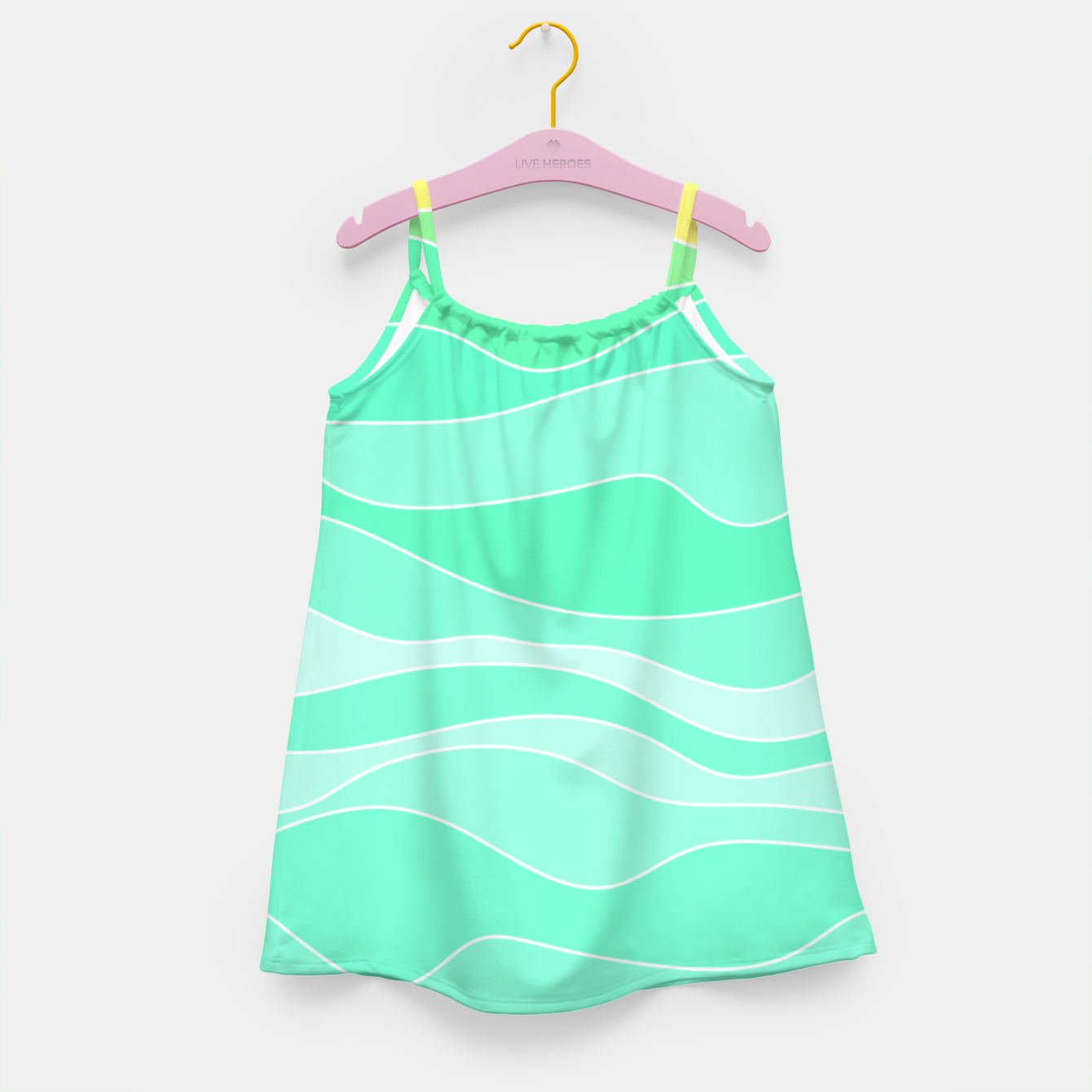 Image of Ocean sunrise, waves in blue and green print Girl's dress - Live Heroes