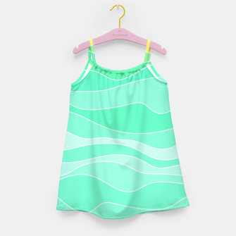 Ocean sunrise, waves in blue and green print Girl's dress thumbnail image