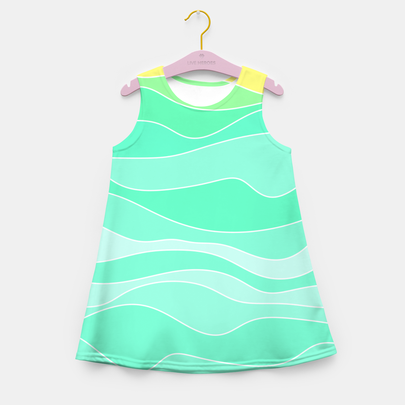 Image of Ocean sunrise, waves in blue and green print Girl's summer dress - Live Heroes