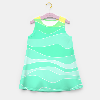 Ocean sunrise, waves in blue and green print Girl's summer dress thumbnail image