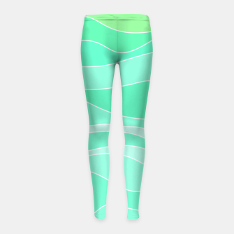 Thumbnail image of Ocean sunrise, waves in blue and green print Girl's leggings, Live Heroes