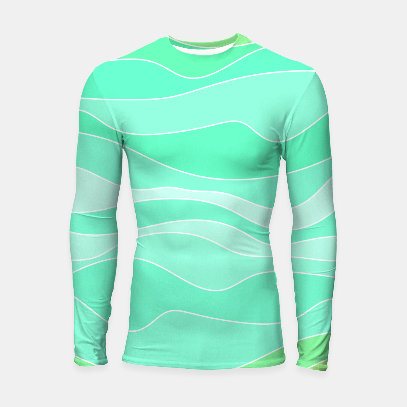 Image of Ocean sunrise, waves in blue and green print Longsleeve rashguard  - Live Heroes