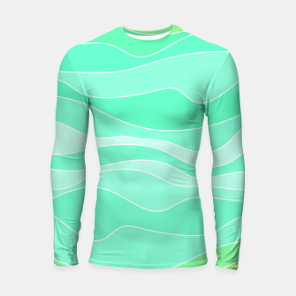 Thumbnail image of Ocean sunrise, waves in blue and green print Longsleeve rashguard , Live Heroes