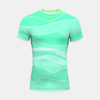 Thumbnail image of Ocean sunrise, waves in blue and green print Shortsleeve rashguard, Live Heroes
