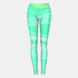 Ocean sunrise, waves in blue and green print Leggings thumbnail image