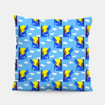 Thumbnail image of Blue Coyote Pattern Pillow, Live Heroes
