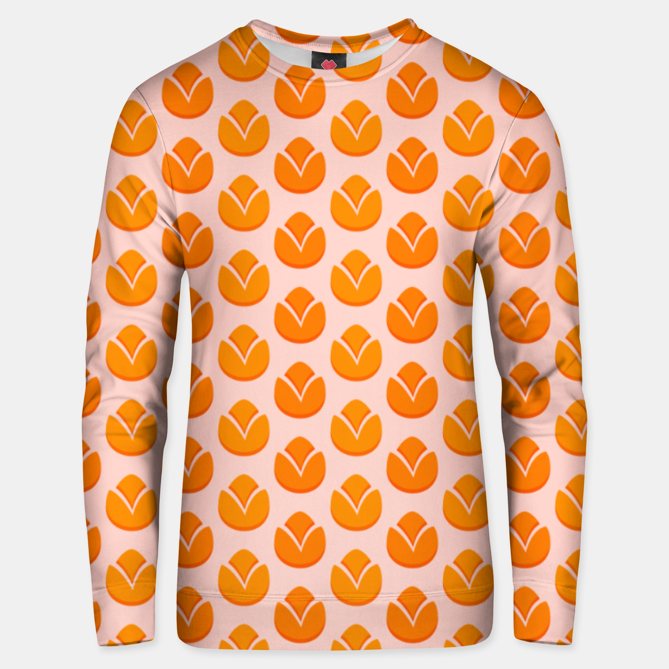 Image of Art tulips blossoming, orange and pink print Unisex sweater - Live Heroes