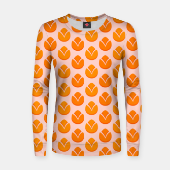 Art tulips blossoming, orange and pink print Women sweater thumbnail image