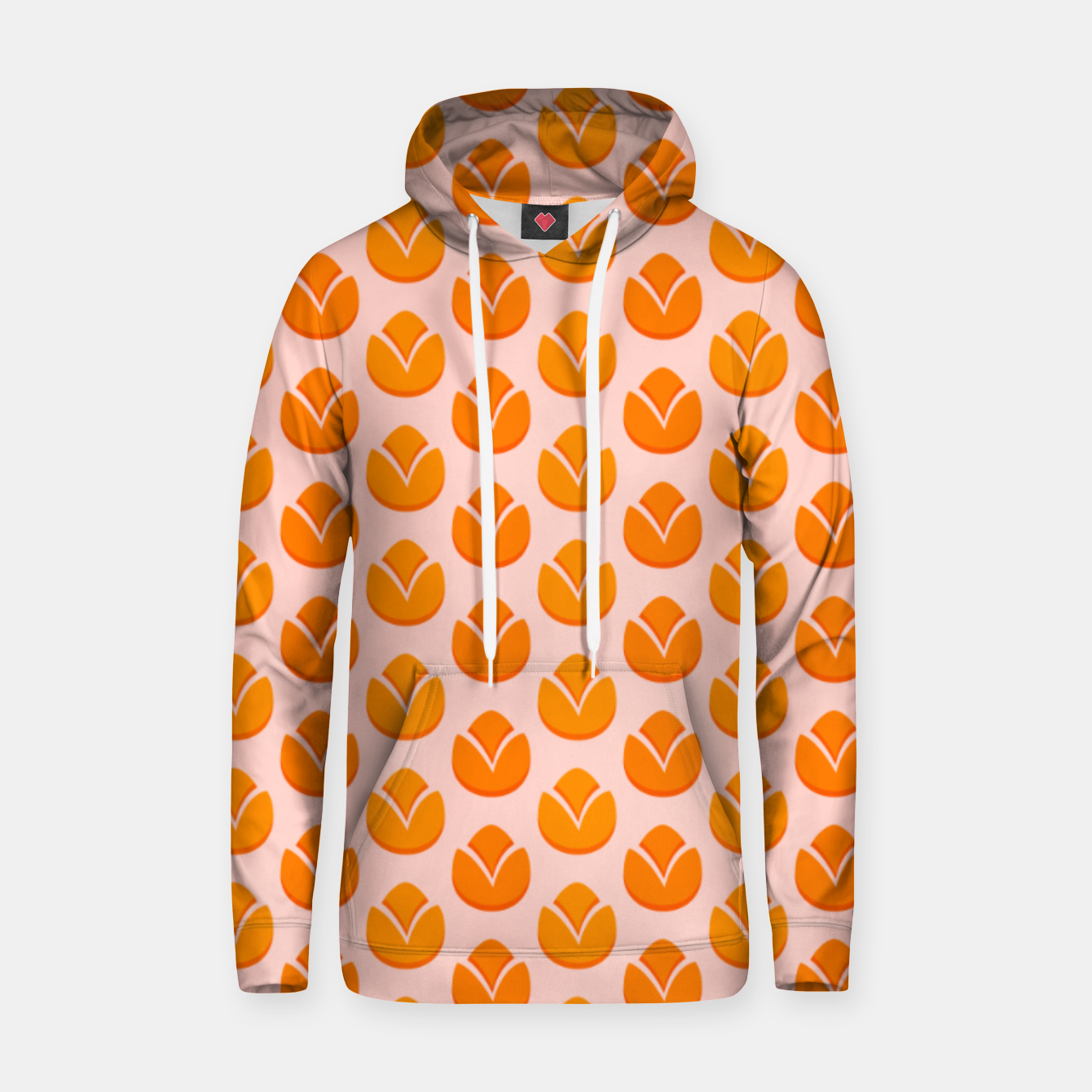 Image of Art tulips blossoming, orange and pink print Hoodie - Live Heroes