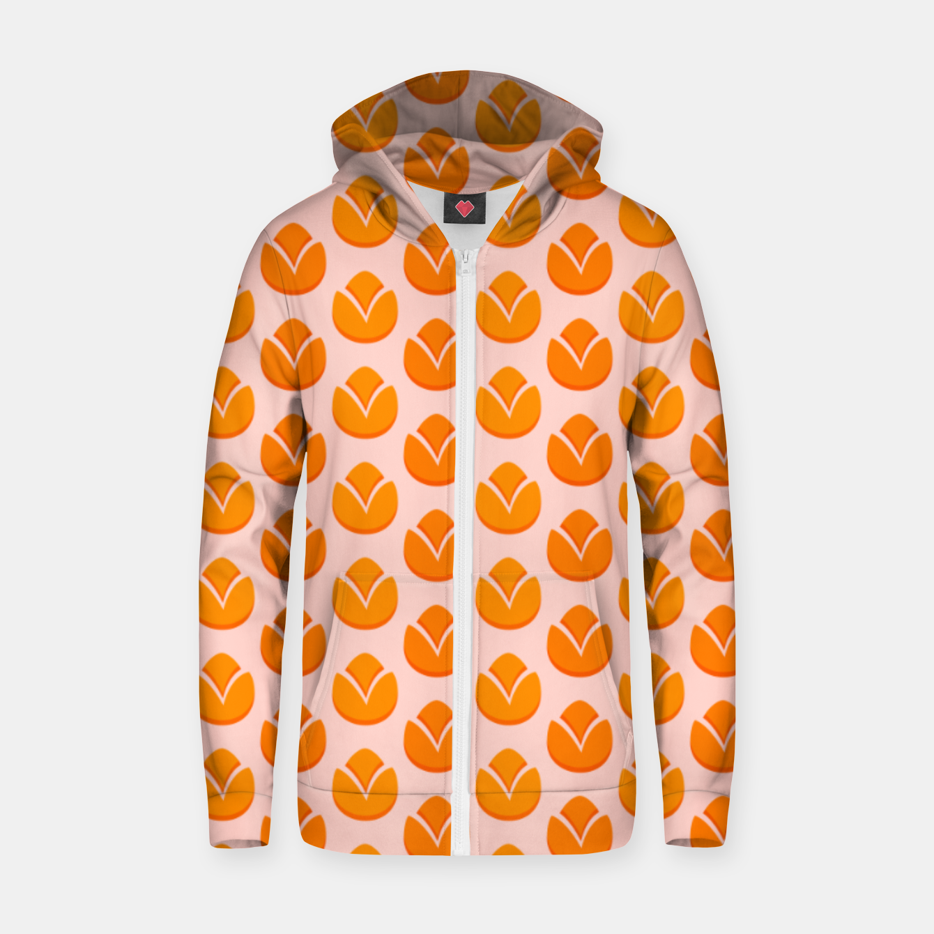 Image of Art tulips blossoming, orange and pink print Zip up hoodie - Live Heroes