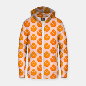 Art tulips blossoming, orange and pink print Zip up hoodie thumbnail image