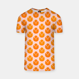 Art tulips blossoming, orange and pink print T-shirt thumbnail image