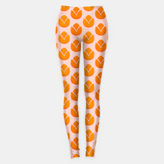 Art tulips blossoming, orange and pink print Leggings thumbnail image