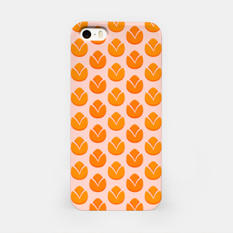 Art tulips blossoming, orange and pink print iPhone Case thumbnail image