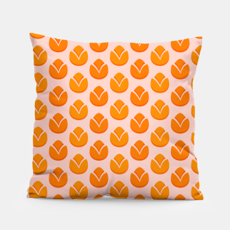 Art tulips blossoming, orange and pink print Pillow thumbnail image