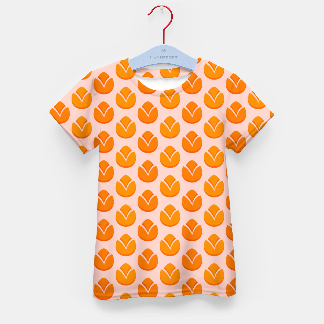 Image of Art tulips blossoming, orange and pink print Kid's t-shirt - Live Heroes