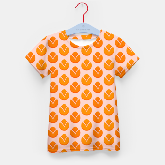 Art tulips blossoming, orange and pink print Kid's t-shirt thumbnail image