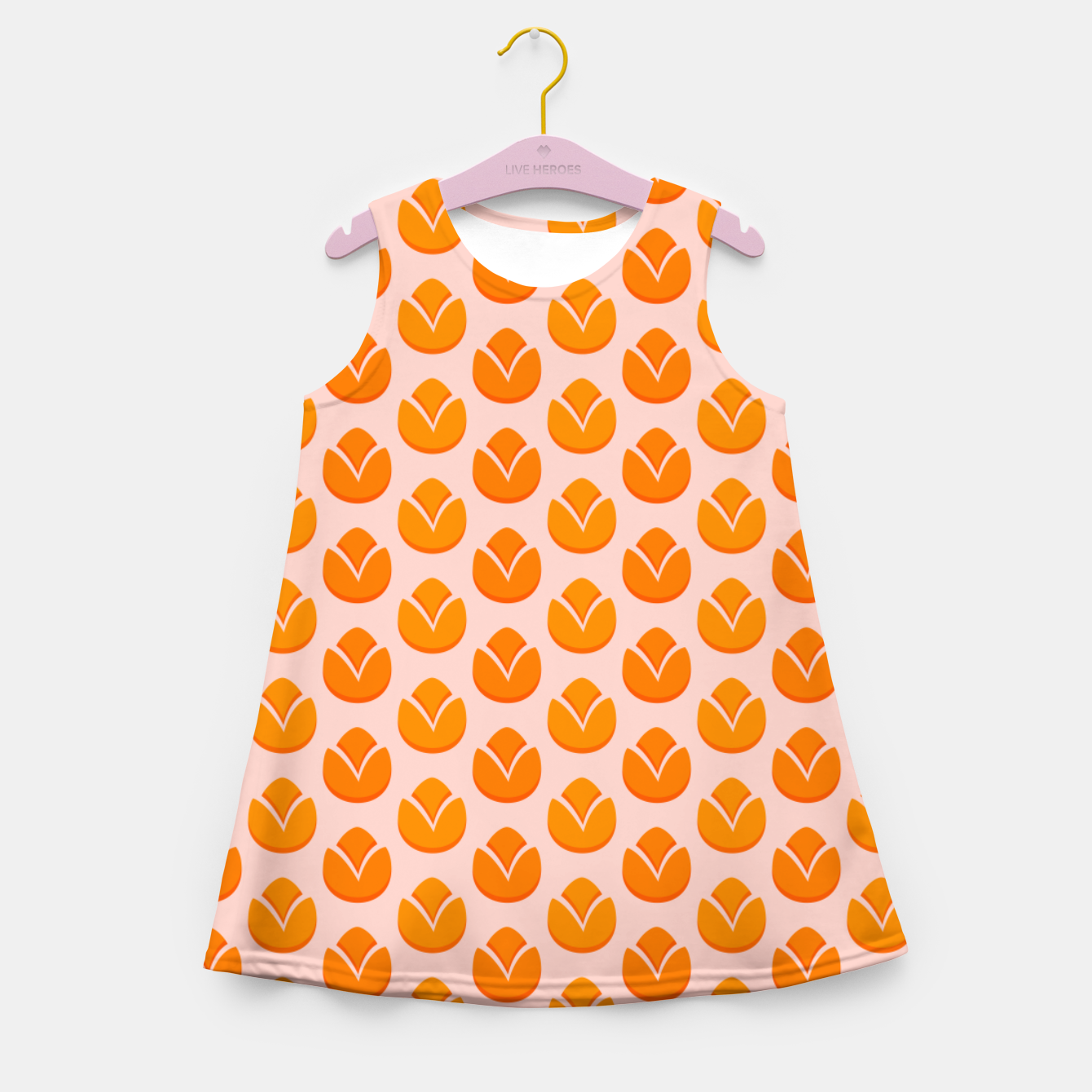 Image of Art tulips blossoming, orange and pink print Girl's summer dress - Live Heroes
