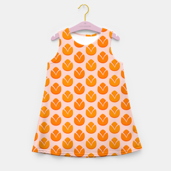 Thumbnail image of Art tulips blossoming, orange and pink print Girl's summer dress, Live Heroes