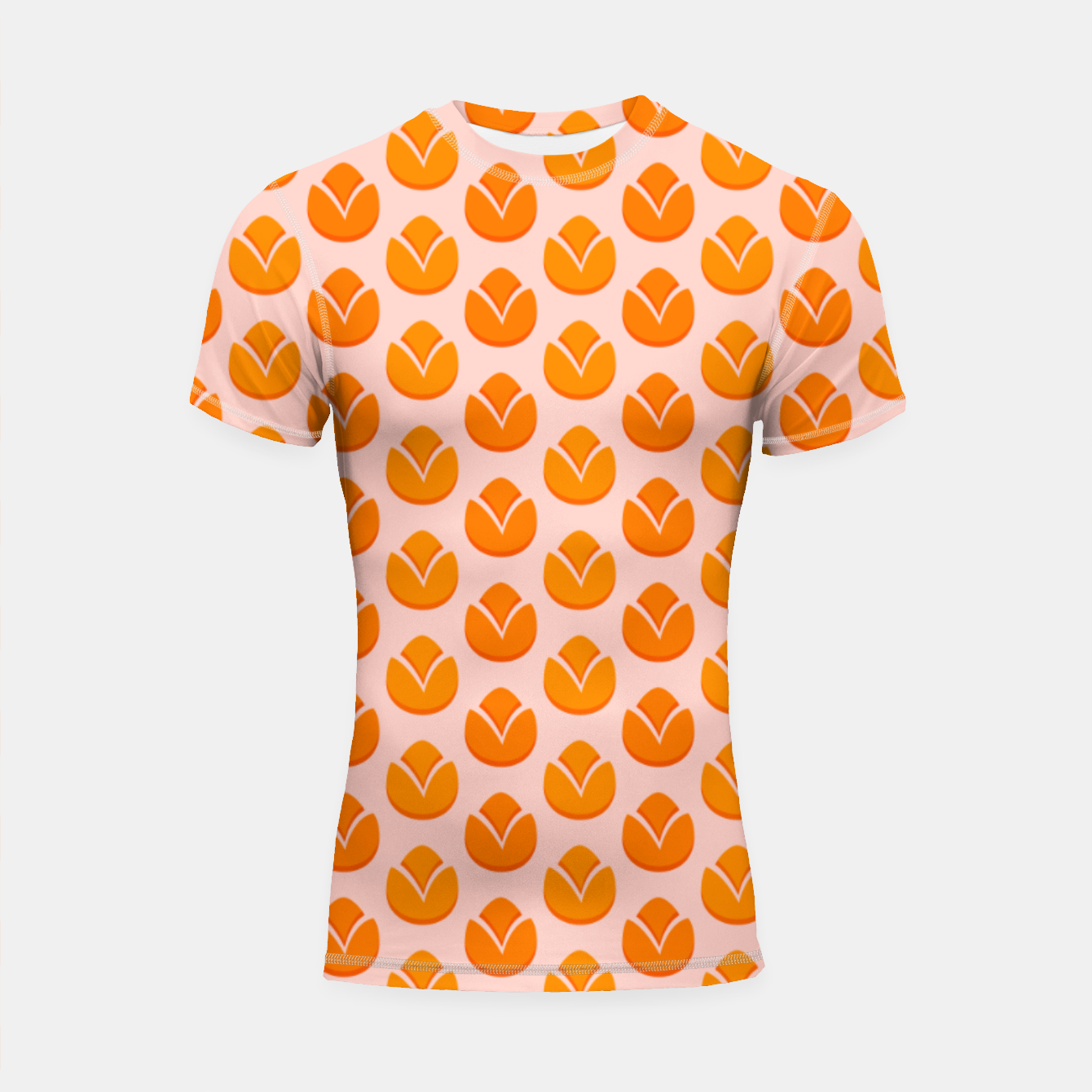 Image of Art tulips blossoming, orange and pink print Shortsleeve rashguard - Live Heroes