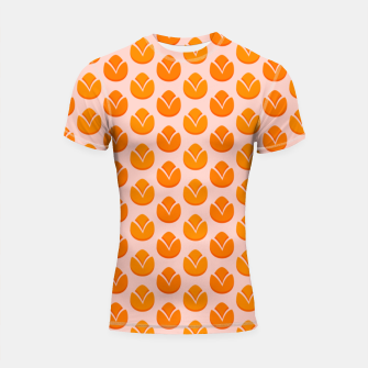Art tulips blossoming, orange and pink print Shortsleeve rashguard thumbnail image