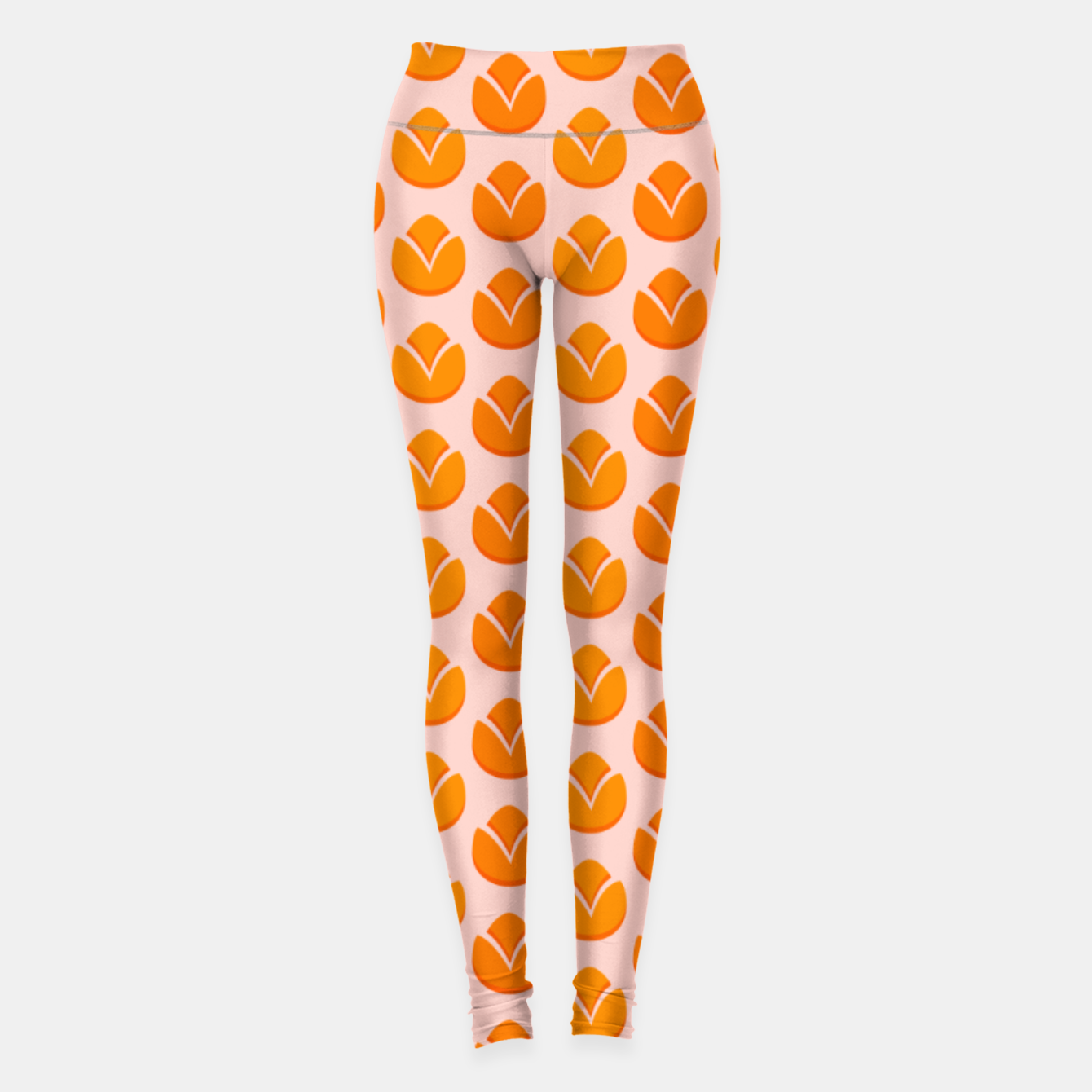 Image of Art tulips blossoming, orange and pink print Leggings - Live Heroes