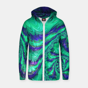 Miniaturka Blue Green Liquid Stripes Fractal Zip up hoodie, Live Heroes